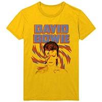 David Bowie- Alladin Sane on a gold shirt