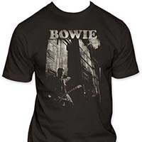 David Bowie- With Guitar on a charcoal ringspun cotton shirt