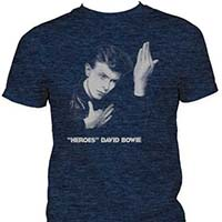 David Bowie- Heroes on a heather navy ringspun cotton shirt