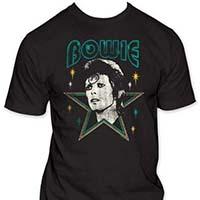 David Bowie- Stars on a black ringspun cotton shirt