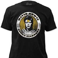 David Bowie- Distressed Ziggy Stardust on a black ringspun cotton shirt