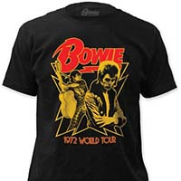 David Bowie- 1972 World Tour on a black ringspun cotton shirt