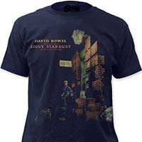 """David Bowie- Ziggy Stardust """"Sueded Print"""" on a navy ringspun cotton shirt"""