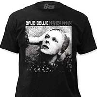 David Bowie- Hunky Dory (White Print) on a black ringspun cotton shirt