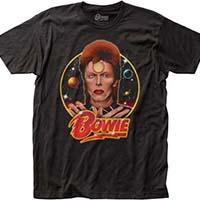 David Bowie- Space Oddity on a black ringspun cotton shirt