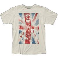 David Bowie- Union Jack Picture on a vintage white ringspun cotton shirt