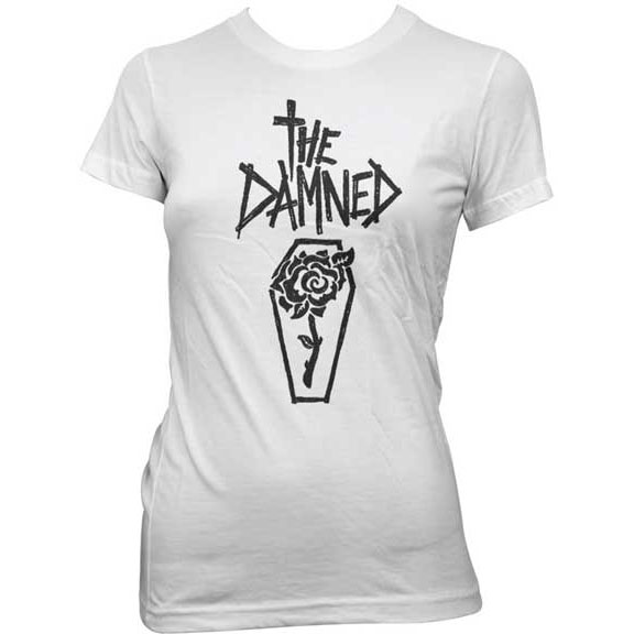Damned- Rose Coffin on a white girls fitted shirt