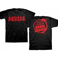 Deicide- Logo on front, Good Old Fashioned Devil Music on back on a black shirt