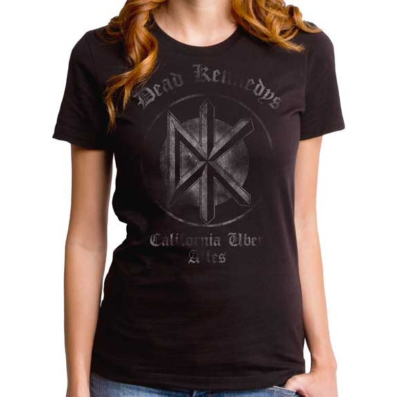 Dead Kennedys- California Uber Alles on a black girls fitted shirt  by Goodie Two Sleeves