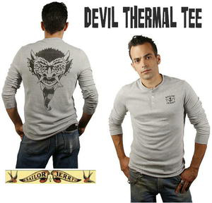 Devil Long Sleeve Thermal Shirt by Sailor Jerry - in Gray - sz XL only - SALE