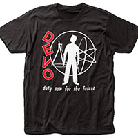 Devo- Duty Now For The Future on a black ringspun cotton shirt
