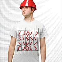Devo- Grid Logo on a white ringspun cotton shirt