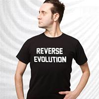 Devo- Reverse Evolution on a black ringspun cotton shirt (Sale price!)