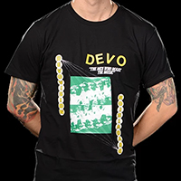 Devo- Devovision, The Men Who Make The Music on a black ringspun cotton shirt