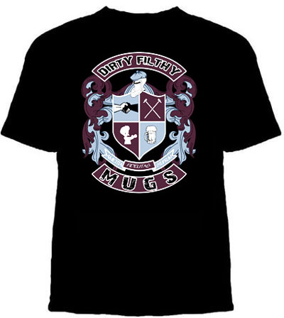Dirty Filthy Mugs- Crest Logo on a black shirt (Sale price!)