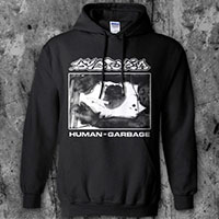 Dystopia- Human=Garbage on a black hooded sweatshirt