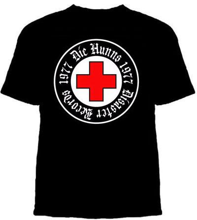 Hunns- Red Cross Logo on a black shirt (Sale price!)