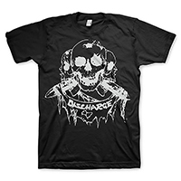 Discharge- Born To Die (Skulls & Banner) on a black shirt