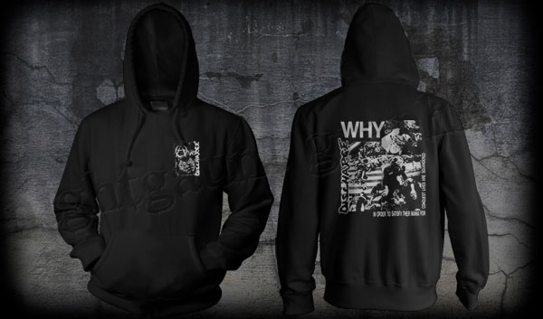 Discharge- Face on front, Why on back on a black hooded sweatshirt (Sale price!)
