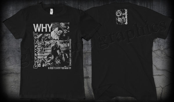 Discharge- Why on front, Skull on back on a black shirt