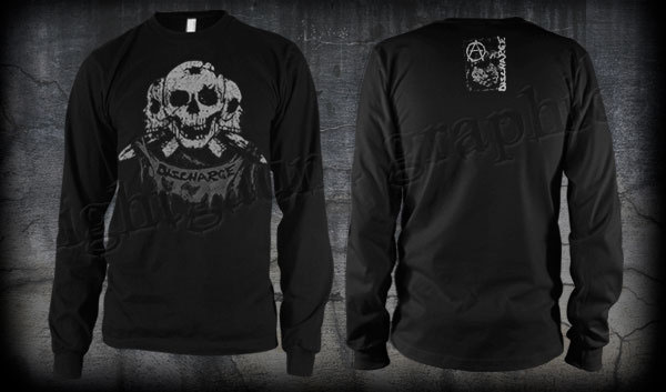 Discharge- Skull on front, Face on back on a black LONG SLEEVE shirt