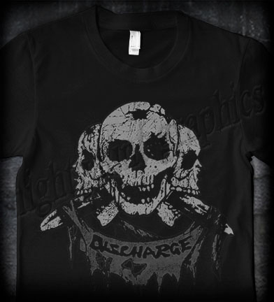 Discharge- Skull on front, Face on back on a black shirt