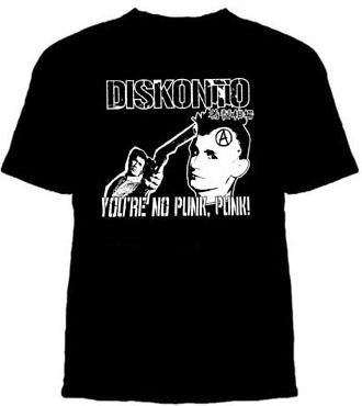 Diskonto- You're No Punk, Punk! on a black shirt (Sale price!)