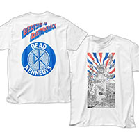 Dead Kennedys- Bedtime For Democracy Cover on front, Logo on back on a white shirt