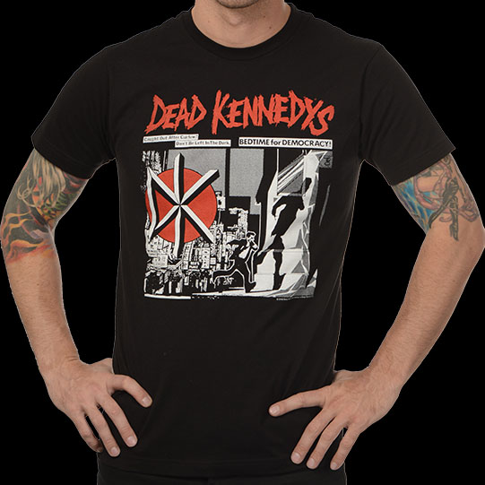 Dead Kennedys- Bedtime For Democracy (Running Guy) on a black ringspun cotton shirt
