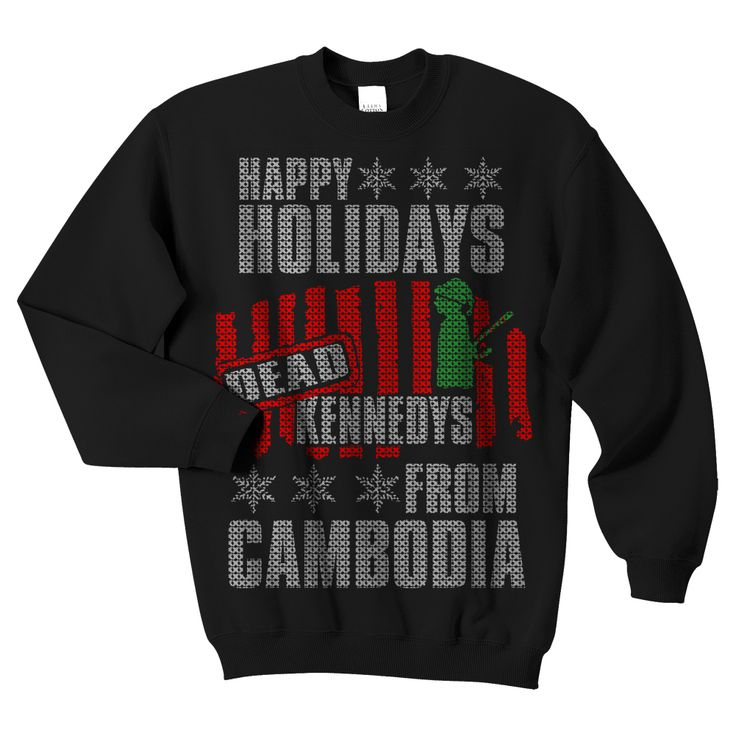 Dead Kennedys- Happy Holidays From Cambodia Christmas Sweater Design on a black crew neck sweatshirt