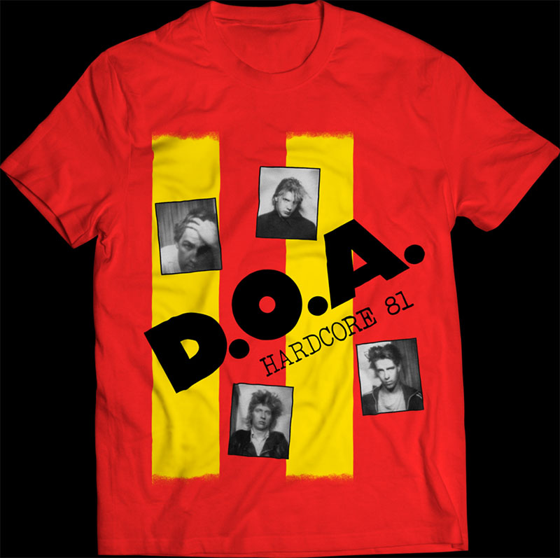 DOA- Hardcore 81 on a red ringspun cotton shirt