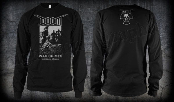 Doom- War Crimes on front, Skull on back on a black LONG SLEEVE shirt