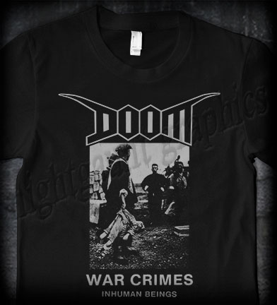 Doom- War Crimes on front, Skull on back on a black shirt
