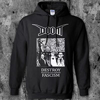 Doom- Destroy Fascism on a black hooded sweatshirt
