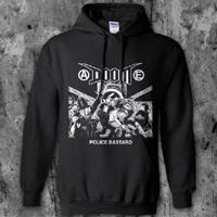 Doom- Police Bastard (Riot) on a black hooded sweatshirt