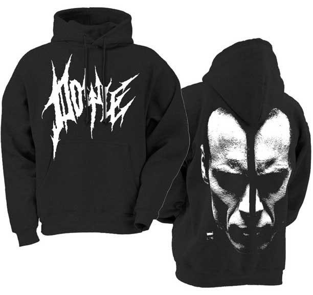 Doyle- Logo on front, Face on back on a black hooded sweatshirt (Misfits) (Sale price!)