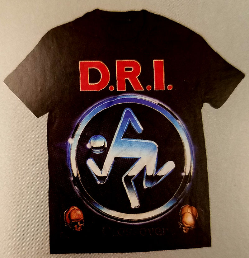 DRI- Crossover All Over Print on a black 50/50 cotton/poly blend shirt