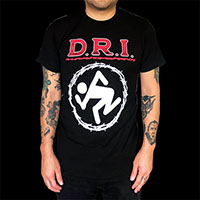 DRI- Barbed Wire Skanker (Red Logo) on a black ringspun cotton shirt
