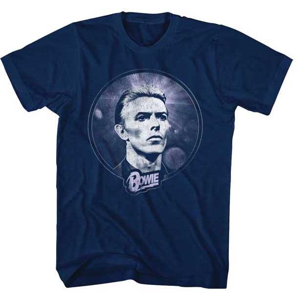 David Bowie- Circle Pic on a navy ringspun cotton shirt (Sale price!)