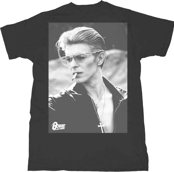 David Bowie- Smoking on a black ringspun cotton shirt