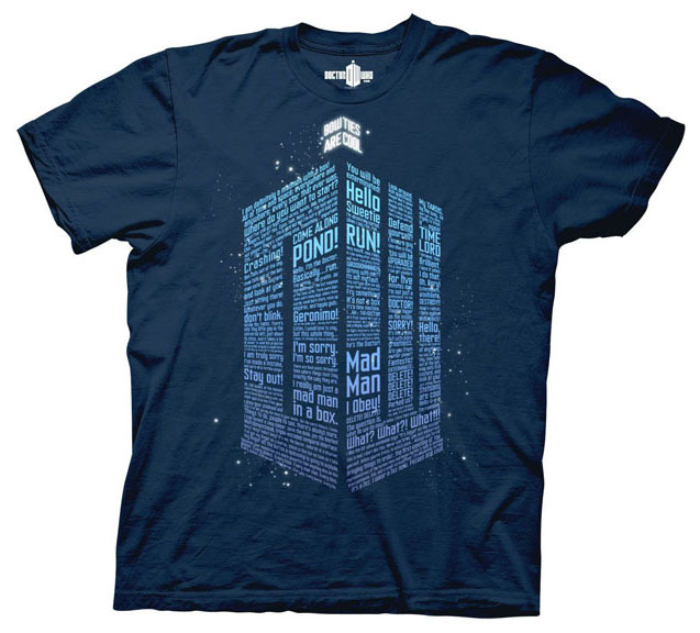 Doctor Who- Logo Of Words on a navy shirt (Sale price!)