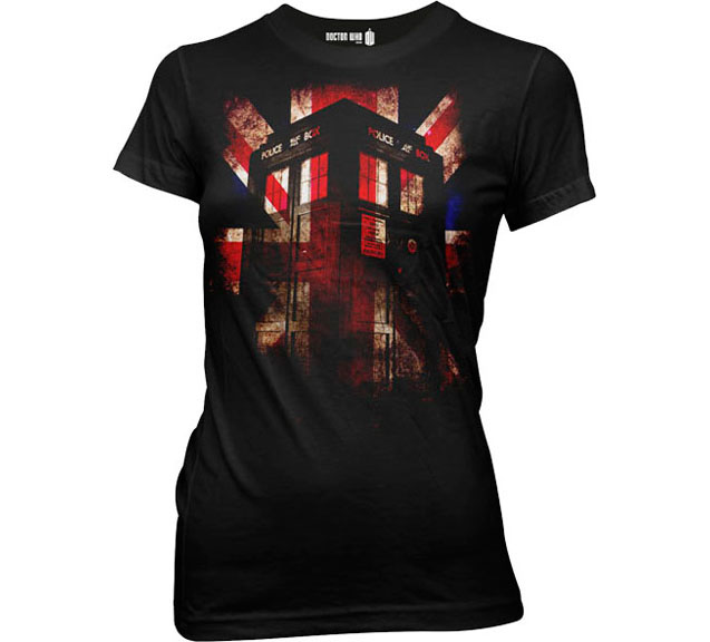 Doctor Who- Union Jack Tardis on a black girls fitted shirt (Sale price!)