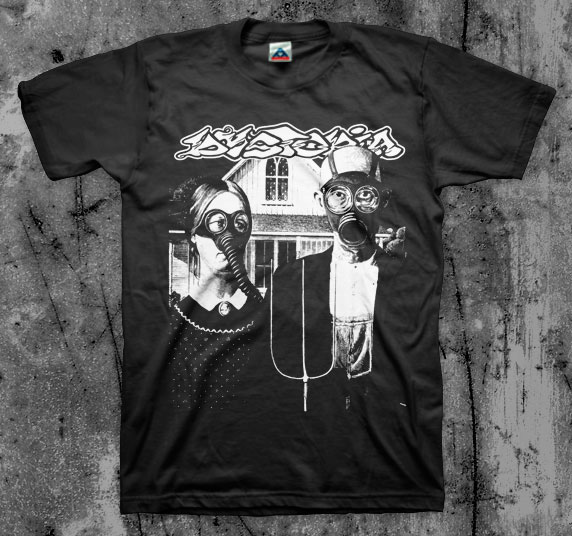 Dystopia- American Gothic on a black shirt