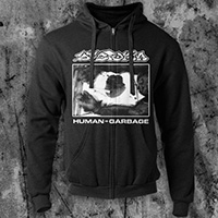 Dystopia- Human=Garbage on a black zip up hooded sweatshirt
