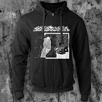 Dystopia- Sleep on a black zip up hooded sweatshirt