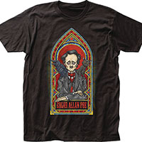 Edgar Allan Poe- Stained Glass on a black ringspun cotton shirt (Sale price!)