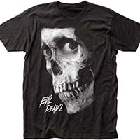 Evil Dead 2, Dead By Dawn- Skull (Black/White) on a black ringspun cotton shirt