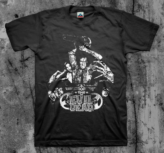Evil Dead- Ash With Chainsaw (White Logo) on a black shirt