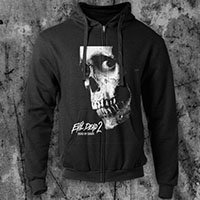 Evil Dead- Skull on a black zip up hooded sweatshirt