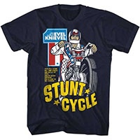 Evel Knievel- Stunt Cycle on a navy ringspun cotton shirt